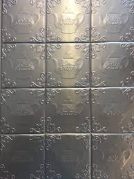 buy self adhesive decorative silver embossed floral tin tiles 6