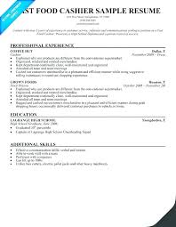 Fast Food Manager Resume Templates Cashier Skills Sample Professional Job Des