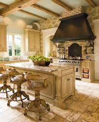 16 Stunning Designs Of French Country Kitchens Amusing Kitchen Design With Large Black Chimnet And Stone Around The Stove Also Marble