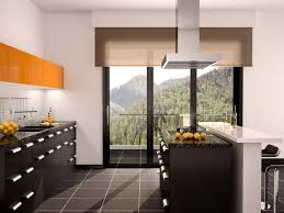 cuisine orange et noir illustration of modern black and orange kitchen interior with a