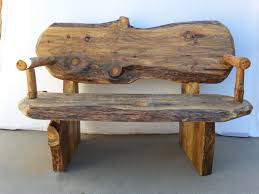 Rustic Log Wood Bench