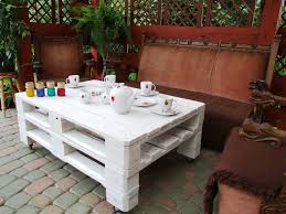 Wooden Pallet Patio Furniture Plans by Furniture Accessories Rectangular White Polished Pallet Coffee