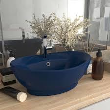 luxus waschbecken überlauf matt dunkelblau 58 5x39cm keramik