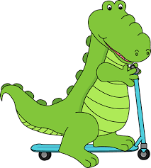 Alligator Riding A Scooter