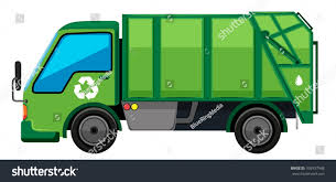 Garbage Truck Green Color Illustration Stock Vector (Royalty Free ...