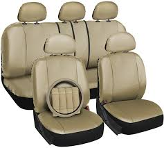 Amazon.com: OxGord 17pc Set Faux Leather Solid Tan Auto Seat Covers ... Leather Seat Covers Upholstery 2006 Dodge Ram 2500 8lug Magazine Ford Truck By Clazzio Bestfh Car Suv Pu Cushion Rear Bench Truck Seat Covers Lvo Fh4 Burgundyblack Eco Leather Front Bucket Black Man Tgx Tgs Redtoffee Fh Group Highback Textured For Sedan Van 5 Full Set Truck Leather Seat Covers Truckleather Luxury Supports Cover Microfiber