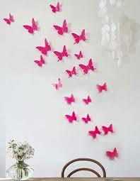 Wall Art Ideas Design Pink Girlish Butterfly Cute Colorfull Decoration Bright Paper Handmade Small Big Flowers Living Room Fascinating