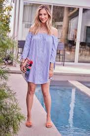 Cupcakes And Cashmere Blogger Dress Bag Off The Shoulder Summer Outfits Sandals Clutch