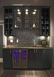 Home Wet Bar Designs W Glass Backsplash Built In Counter Height Beverage Cooler