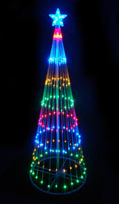 6 Multi Color LED Light Show Cone Christmas Tree Lighted Yard Art
