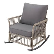 Better Homes & Gardens Belfair Patio Wicker Rocking Chair With Gray  Cushions - Walmart.com
