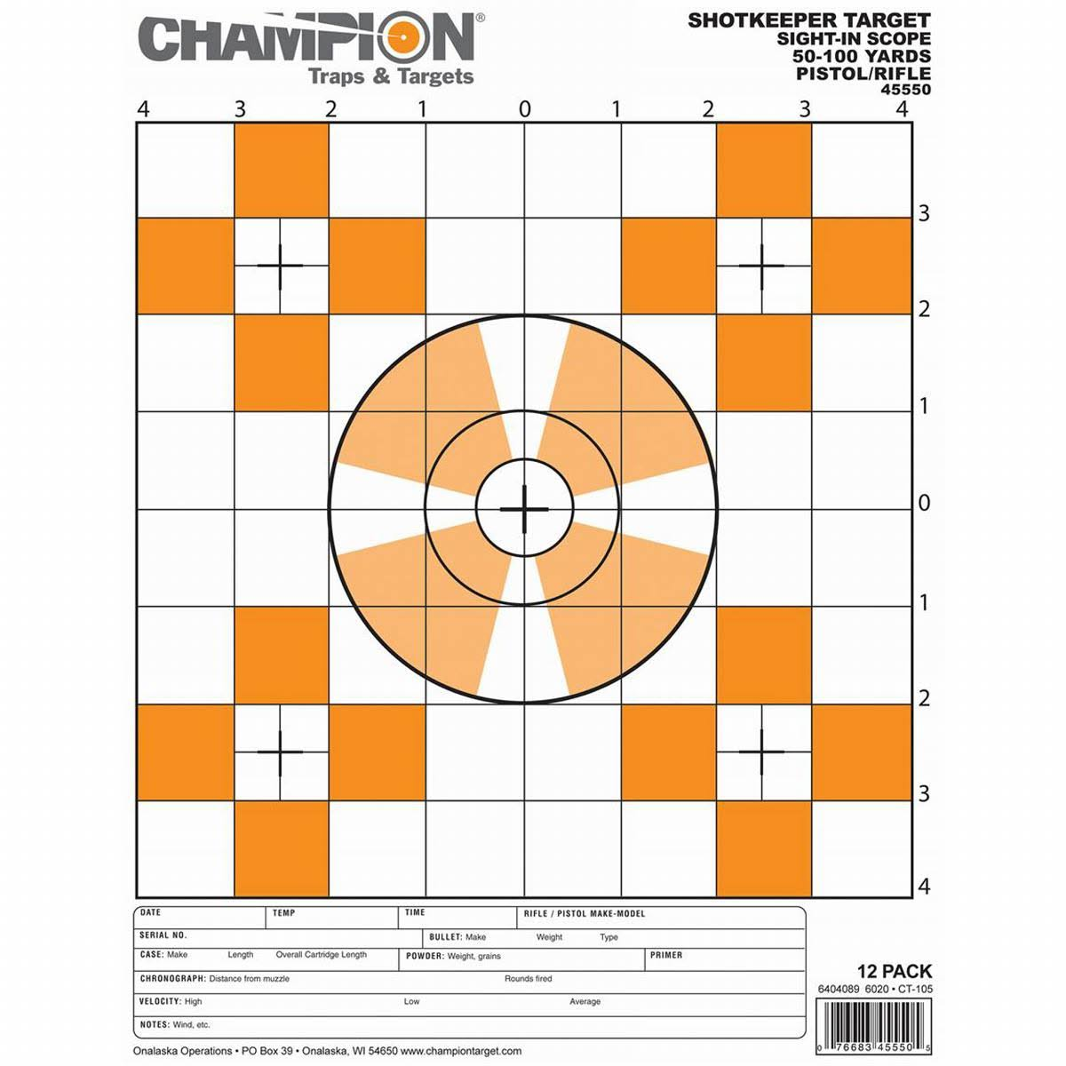 Champion Traps and Targets Shotkeeper Sightin Scope Target (Per 12) Small