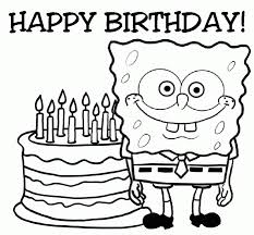 Spongebob And Birth Day Cake Coloring Page