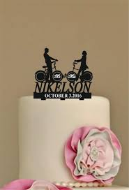 Personalized Wedding Cake Topper Rustic Funny Unique Bicycle Silhouette