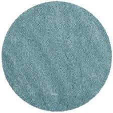 Shop Safavieh Milan Shag Aqua Blue Round Indoor Area Rug mon