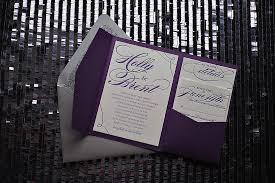 Letterpress Wedding Invitation In Pocket Folder