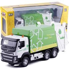 High Simulation 1:32 Alloy Green Think Clean,Garbage Truck Car ...