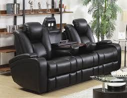 Power Recline Sofa in Black Leather Upholstery by Coaster P