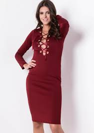 long sleeve lace up bodycon dress burgundy