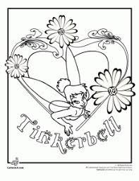 Tinkerbell And Flowers Coloring Page