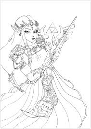Coloring Page Of The Princess Zelda From Video Game Twilight