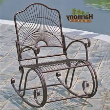 Wrought Iron Rocking Chair Outdoor Cushions Vintage Cast ...