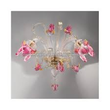 delizia pink flowers murano glass wall sconce murano glass