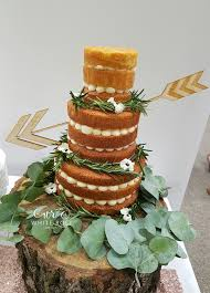 Three Tier Rustic Naked Wedding Cake With Greenery Foliage Tree Stump Stand And Arrow Through By White Rose Design West Yorkshire Maker In