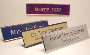 Engraved fice Name Plates with Holders at Great Prices