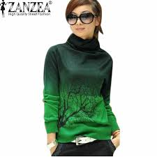 Soft Wool Plus Size Pullover 2016 Autumn ZANZEA Women Korean Casual Fashion Turtleneck Branch Print Sweater