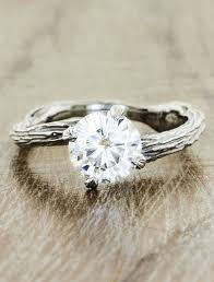 Round Diamond Engagement Ring With Rustic Design On Band