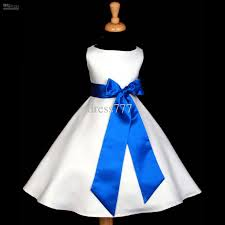 lovely white royal blue a line wedding flower dress wedding