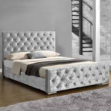 luxury double king size bed frame grey fabric or silver gold