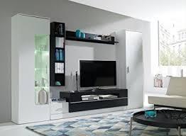 wohnwand eric anbauwand möbel schrank schrankwand wohnzimmer modernes design weiß schwarz korpus weiß schwarz front weiß schwarz
