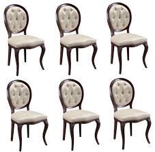 casa padrino luxus jugendstil chesterfield esszimmer set dunkelbraun cremefarben 51 x 44 x h 99 cm 6 esszimmerstühle esszimmermöbel