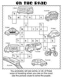 On The Road Kids Crossword Puzzle School Age ActivitiesTravel ActivitiesColor