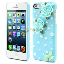 3D Flower Bowknot Pearl Cheap Plastic Shell Cases for iPhone SE 5s