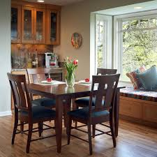 Example Of A Classic Medium Tone Wood Floor Kitchen Dining Room Combo Design In Portland