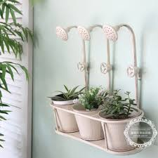 French Retro Rustic Wrought Iron Flower Pots Care For The Old Three Small Hanging Balcony