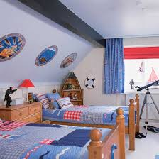 Boys Bedroom With Nautical Theme And Boat Shaped Shelving