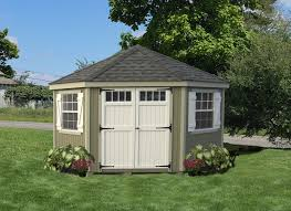 Wood Storage Sheds Jacksonville Fl by Little Cottage 5 Sided Colonial Wooden Shed 10x10 Ft Panelized