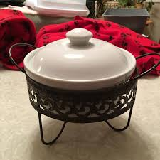 Small Ceramic Chafing Dish Measures 7 Inches Across With Ornate Metal Holder And Candle Warmer