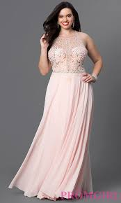 blush pink plus size illusion prom dress promgirl