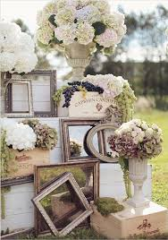Rustic Vintage Wedding Reception Ideas With Multi Mirror Frames And White Flowers In Ceramic Vases