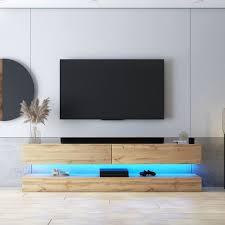selsey hylia tv board fernsehschrank für wohnzimmer mit 2 schubladen led leuchten holzoptik wotan eiche 140 cm