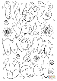 I Love You Daddy Coloring Pages Mom And Dad Page Free Printable