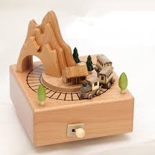Wooden Train Music Box With Mountain Creative Birthday Gift For Girlfriend