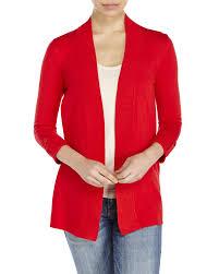 premise studio tab sleeve open cardigan in red lyst