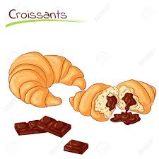 Croissants With Chocolate Stock Vector