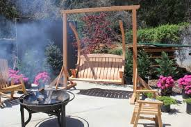 Wooden Garden Swing Seat Plans by Interior Light Brown Wooden Patio Swing Combined With A Shape Legs
